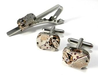 SOLDERED Steampunk Cufflink Tie Clip Set - matching GLYCINE Mechanical Watch Cuff Links Tie Bar SET