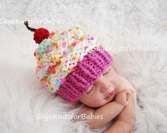 Newborn Photo Prop, Knit Newborn Cupcake Hat, Newborn Baby Cupcake Hat, Baby Cupcake Beanie, Newborn Photography Prop, Children Hat