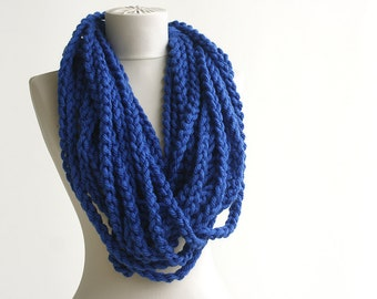 Black Friday Cyber Monday Cobalt blue crochet chain scarf - bulky  infinity scarf - circle rope scarf - chunky wool scarf