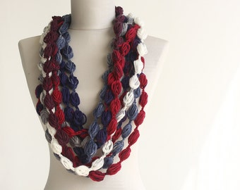 Nautical infinity scarf crochet scarf pompom scarf white blue red multicolor women scarves neckwarmer winter loop scarf