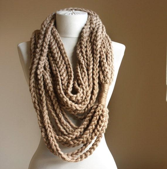 beige crochet scarf infinity chain scarf oatmeal by