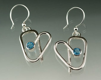 Sterling Silver Hearts with Swiss Blue Topaz Dangle Earrings, Sweetheart Earrings, Valentine's Jewelry