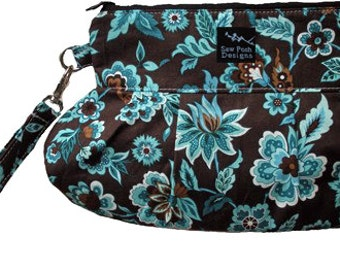Pleated Wristlet Clutch Small Purse Zipper Pouch Iphone Cell Phone Case Brown Blue White Flowers Floral Key Fob Washable