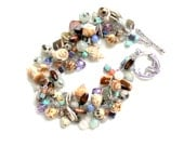 Mermaid wish bracelet / seashells / dalmation jasper / feldspar / teal purple / pearls / wire wrapped gemstones