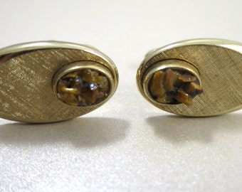 Vintage Swank Cuff Links Tiger Eye Chips Oval Gold Tone 1960's Brushed Finish  Swivel Bar Backs Modernist Mid Century Fashion