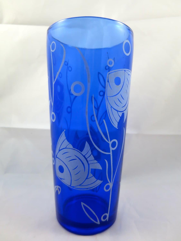 Cobalt Blue Art Deco Cocktail Shaker Angel Fish Tank Design