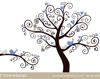 Love Birds on a Love Tree - in Silver, Blue, and Tan