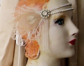 emma in ivory - flapper headband of vintage rhinestones, 1920's beaded fringe, and ivory peacock feathers- made to order