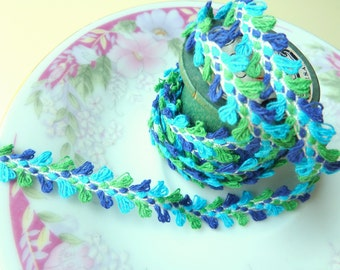 Hippie Bohemian Sewing Trim, Fuzzy Teal Blue Green Braided Trim with Picot Edge, Boho Sewing Trim, 5 Yards