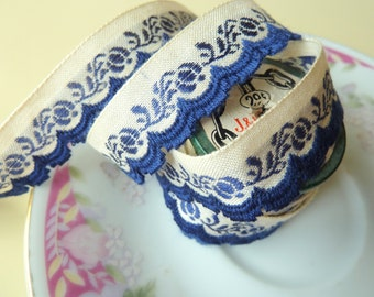 Vintage Floral Sewing Trim, 2.67 yards, Blue Flowers on Natural Background with Navy Blue Scalloped Edges, Narrow Vintage Ribbon, LAST
