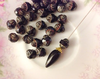 Czech Glass Beads, Opaque Black Turbine Beads with Picasso Finish, 11x10mm, (6)