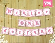 Pink Winter ONEderland Banner - DIY Printable 1st Birthday Banner // Print at Home Birthday Bunting // First Birthday - Instant Download