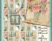 Digital collage sheet Le Jardin Rose Tulips Peonies French Paris AJR-211 art for glass scrabble tile 1 inch square Eiffel tower peony key