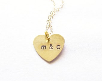 Gold Heart Charm Necklace Personalized Jewelry Tiny Small Letter Pendant Custom Initial Love Anniversary Wife Girlfriend Womens Gift For Her
