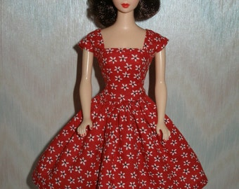"Handmade 11.5 "" fashion doll  clothes - red and white floral print vintage style dress"