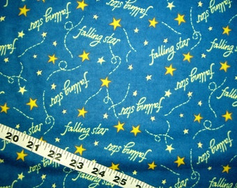 "Flannel fabric with stars, Catch a Falling Star cotton print quilters sewing quilting material 29"" fabric remnant shooting star"