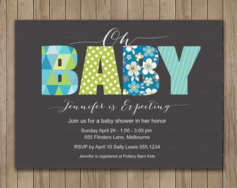 Grey and Blue Oh Baby Shower Invitation, Digital Printable Invitation, Custom Baby Shower Invitation, It's a Boy, It's a Girl