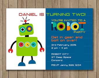 Robot Birthday Invitation, Custom Invitation, Printable Birthday Invitation, DIY,  Robot Party Decor, Boy Birthday Party