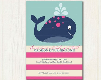 Pink Whale First Birthday Invitation, Printable, DIY, Whale party, 1st Birthday, 2nd Birthday, 1088