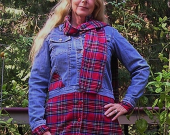 Final Sale - Upcycled Denim and Flannel Jacket, Flannel Scarf, Fall Fashion, Womens, Medium, Country,