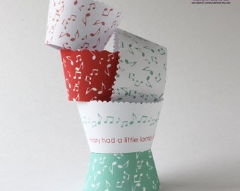 Music Notes Cupcake Wrappers Mary Had A Little Lamb PDF. Mint Coral Blue Fuchsia Orange