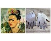metal hand earrings, frida kahlo inspired hand earrings
