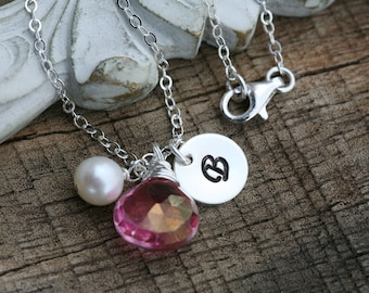Initial necklace,monogram necklace,custom gemstone,font choice,hand stamp initial,Bridesmaid gift,Wedding Jewelry,birthday gift,personalized