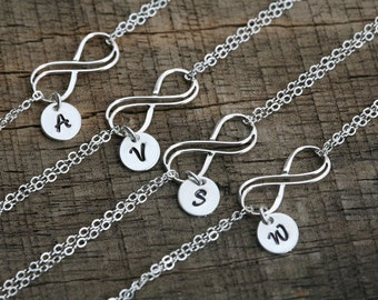 Set of 4,Double infinity bracelet,monogram bracelet,Hand stamped initials.custom font,Bridesmaid gift,Wedding bridal Jewelry,Sisterhood gift