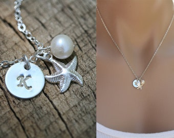 Tiny Starfish necklace, Sterling silver, Hand stamped custom Initial, bridesmaid gift, Birthday gift