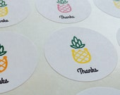 "Chunky Pineapple Labels (48 - 1.2"" Circle) - Thanks, Fresh or For You"