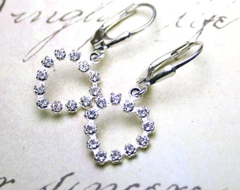 ON SALE - Rhinestone Heart Earrings in Crystal Clear - Swarovski Crystal Hearts with Sterling Silver Lever Backs