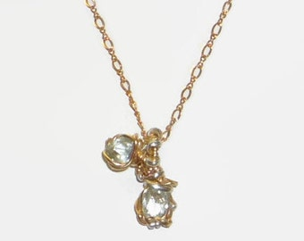 Aquamarine Pendant & Necklace Wire Wrapped 14K Rolled Gold