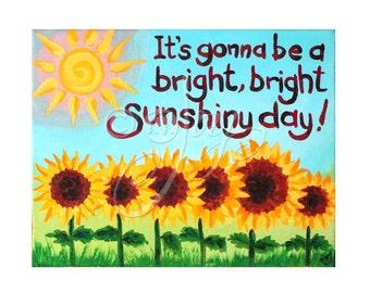 Whimsical Art, Bright Sunshiny Day, 14x11 Acrylic Canvas Wall Art, Girls Nursery Decor