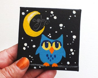 Teal Owl Magnet - Original  Mini Painting Magnet - 3x3 inch canvas magnet