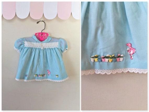 vintage 60s baby dress - GARDENING baby blue dress / 6-12M