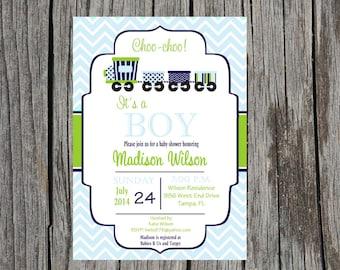 Printed Train Baby Shower Invitation, trains, train baby boy shower, baby boy shower, DIY and printable