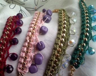 Crocheted and Beaded Chain Bracelet