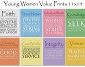 11x14 LDS Young Women Values - 8 print value pack  - Digital Prints