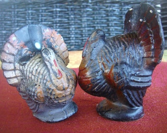 Vintage Turkey Candles Table Decoration Thanksgiving