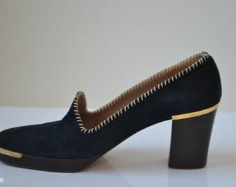 Vintage Ferragamo Blue Suede Heeled Shoes Size 7
