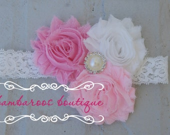 shabby chic pink and white baby headband