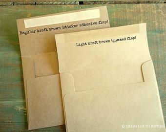 "100 A7 Kraft Envelopes: rustic kraft or light brown envelopes, grocery bag envelopes, A7 envelopes, recycled 5 1/4"" x 7 1/4"" (133x184mm)"