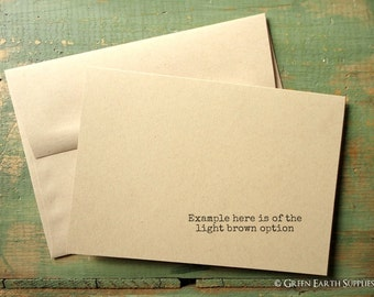 """100 A7 Folded Cards and Envelopes: Blank greeting cards, Kraft or Light Brown, 5 1/8 x 7"""" (130x178mm) or 5x7"""", 80lb, 100lb, 105lb, or 146lb"""
