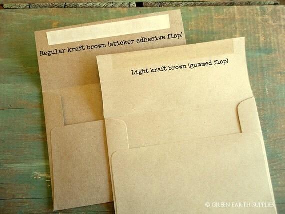 "100 A7 Kraft Envelopes: rustic kraft brown envelopes, grocery bag envelopes, A7 envelopes, eco-friendly recycled 5 1/4"" x 7 1/4"" (133x184mm)"