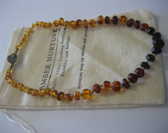 Baby Necklace, Rainbow Coloured Amber, Baltic Amber, Amber Nurture, Natural, Happy Baby, Sarah Steed Designs.