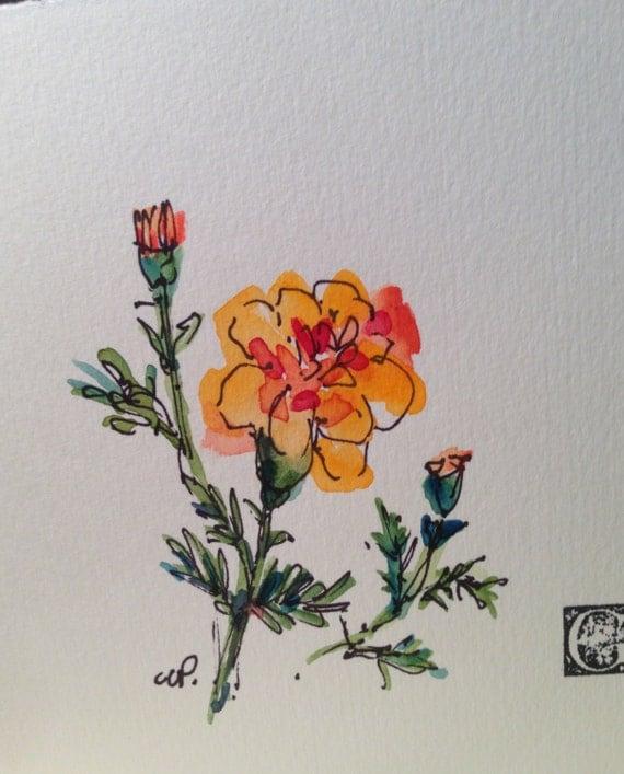 Marigold Watercolor Card