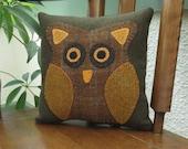 Odus Owl - Primitive Owl Pillow - Wool Owl Pillow