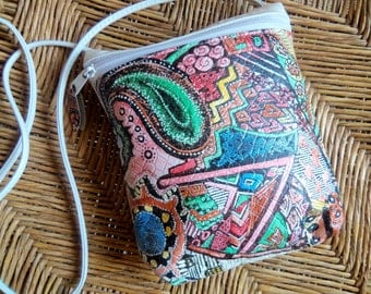 80s OHH! ASHLEY--Painted Multicolor Designs Small Pouch/Purse--White Leather--Green Paisley--Tribal Designs--Pink, Blue, Green, Yellow
