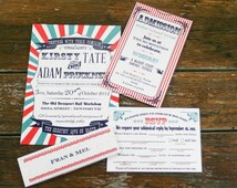 Vintage Circus Wedding Invitations,Retro Circus Wedding Invites,Carnival Wedding Invitation,Vintage Carnival Invite, Invitation Mad Lib RSVP