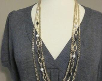 Monte Carlo Dreams - Vintage Triple Stand Gold Tone Necklace